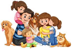 Lycklig familj med fyra barn och husdjur