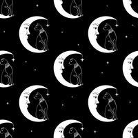 Katze sitzt auf dem Mond Nahtloser Musterhintergrund des nächtlichen Himmels. Niedlicher Zauber, okkulter Entwurf. Vektor