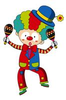 Glücklicher Clown mit Maracas