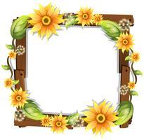 Schöne Sonnenblume auf Holzrahmen vektor