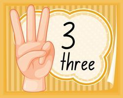 Räkna tre med handen gest