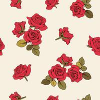 Röda rosor sömlöst mönster. Vektor illustration.