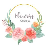 Akvarellfloraler handmålade med textkransar ramgräns, frodiga blommor akvarell isolerad på vit bakgrund. Design blomsterdekoration vektor