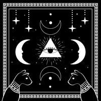 Svarta katter, natthimmel med måne och stjärnor. Ram för provtext. Magiska, ockulta symboler.
