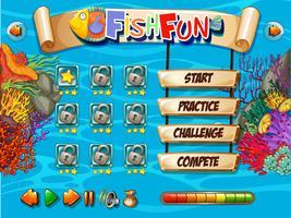 Unterwasserfisch Spielvorlage vektor