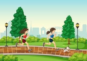 Frau, die am Park läuft