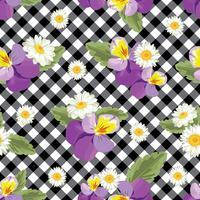Blommigt sömlöst mönster. Pansies med chamomiles på svart och vit gingham, rutig bakgrund. Vektor illustration