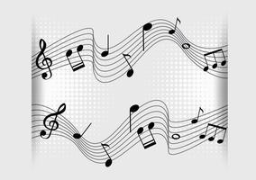 Bakgrundsdesign med musiknoter på skalor