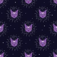 Violettes Katzengesicht mit Mond auf nahtlosem Musterhintergrund des nächtlichen Himmels. Niedlicher Zauber, okkulter Entwurf.