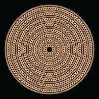 Runda mönster med gyllene kedjor. På svart. Vektor illustration