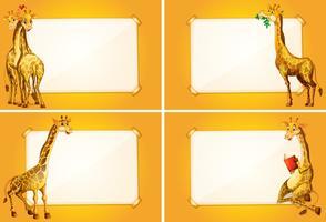 Fyra gränsmallar med söta giraffer