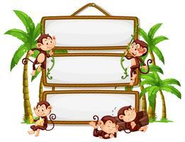 Affe mit Schild auf weißem Hintergrund vektor