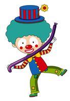 Lycklig clown med lila ballong