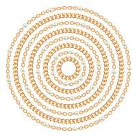 Runda mönster med gyllene kedjor och pärlor. På vitt. Vektor illustration