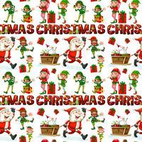 Nahtloser Hintergrund mit Sankt und Elfe für Weihnachten vektor