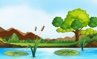 Szene mit Fluss und Park vektor