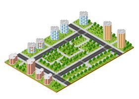 City set kvart överst i landskapet isometrisk 3D-projektion