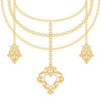Bakgrund med kedjor guld metalliskt halsband och hänge med hjärta. På vitt