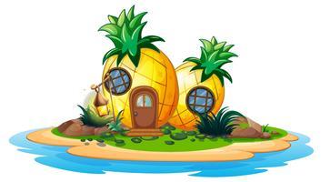 Ananashaus auf der Insel vektor