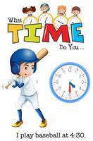 En pojke spela baseball på 4:30