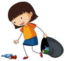 Liten tjej plockar upp papperskorgen