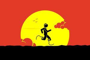 Handicapläufer, der mit laufenden Blättern oder Prothesenbein mit einer großen Sonne und einer Wolke am Hintergrund läuft. vektor