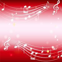 Hintergrundschablone mit Musicnotes auf Rot vektor