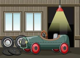Garageninnenraum mit Oldtimer-Spielzeug vektor
