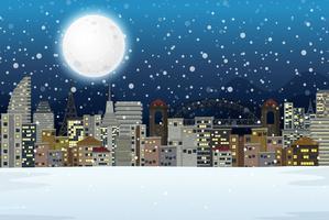 Vinter natt stad landskap vektor