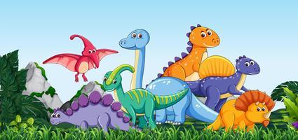 Viele Dinosaurier in der Natur vektor