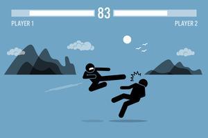 Strichmännchenkämpfercharaktere, die in einem Spiel kämpfen.