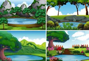 Vier Hintergrundszenen mit Teich im Park vektor