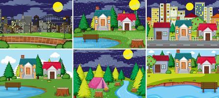 Satz von ländlichen und städtischen Landschaften