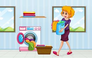 Eine Mutter, die Wäsche macht vektor