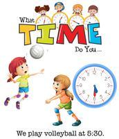 Tjejer spelar volleyboll på 5:30 vektor