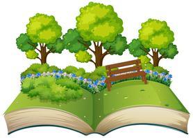 Isolerade öppna bok natur tema