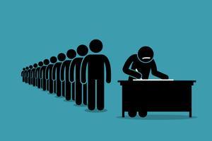Leute in der Warteschlange und Warteschlange für Petition mit Unterschriften. vektor