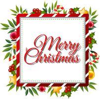 Kartenschablone der frohen Weihnachten mit Verzierungen im Hintergrund
