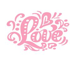 Rosa Kalligraphie der Liebe, die Weinlesevektortext beschriftet. Für Kunstvorlagenentwurfslistenseite, Modellbroschürenart, Bannerideenabdeckung, Broschürendruckflieger, Plakat