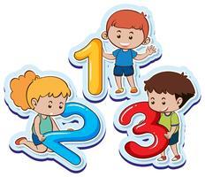 Glückliche Kinder mit Nummer eins zwei drei