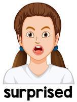 Kvinna överraskad ansiktsuttryck