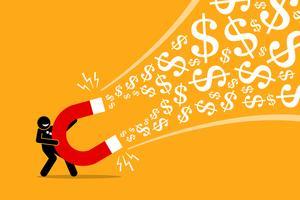 Affärsman använder en stor magnet för att locka pengar. vektor