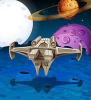 Raumschiff im Raum fliegen