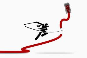 Ninja schneidet Ethernet LAN-Netzwerkkabel.