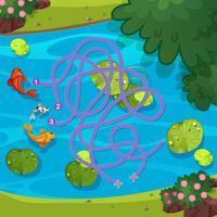 Fischen Sie in der Teichlabyrinth-Spielschablone