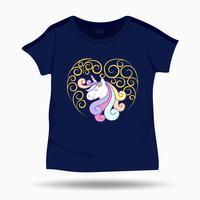 Gullig Unicorn illustration på T-tröja ungar mall. Vektor illustration