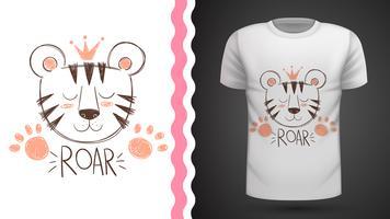 Gullig tiger - idé för tryckt t-shirt