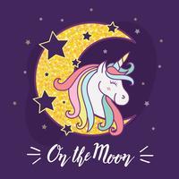 Gullig unicorn tecknad film tecken illustration design.
