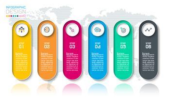 Infografik mit Bar-Etiketten mit 6 Schritten. vektor