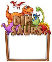 Grenzschablone mit vielen Dinosauriern vektor